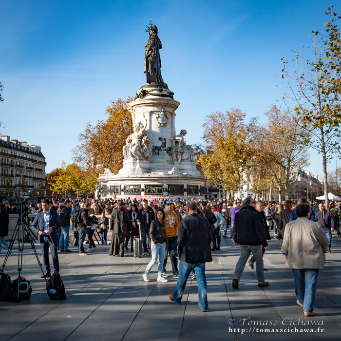 Place de la République. Attentats Paris. Novembre 2015.