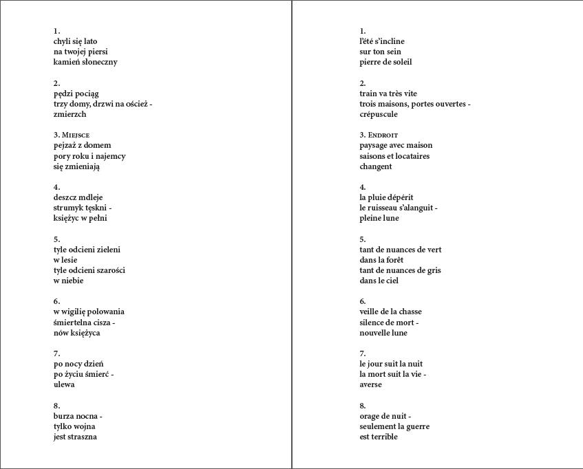 Haiku bicéphale, textes (1)